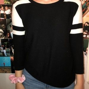 black and white knit sweater